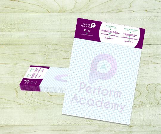 bloc personnalisé imprimerie tour dauphinoise papier 80 grammes blanc avec logo