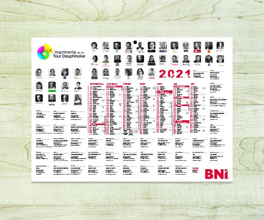 calendrier contre-collé imprimerie tour dauphinoise papier blanc avec logo caméléon