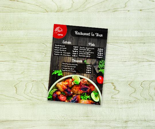 carte restaurant menu imprimerie tour dauphinoise